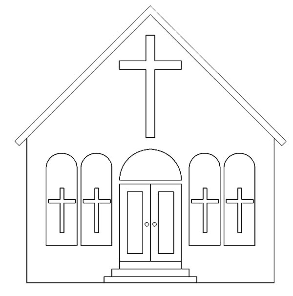 Church, : How to Draw Church Coloring Pages