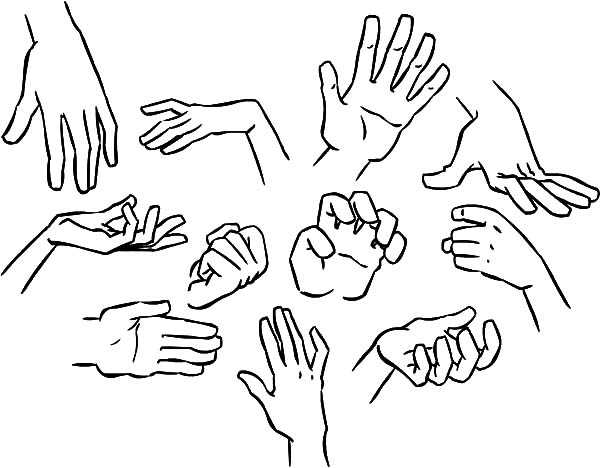 Hands, : How to Draw Hands Coloring Pages