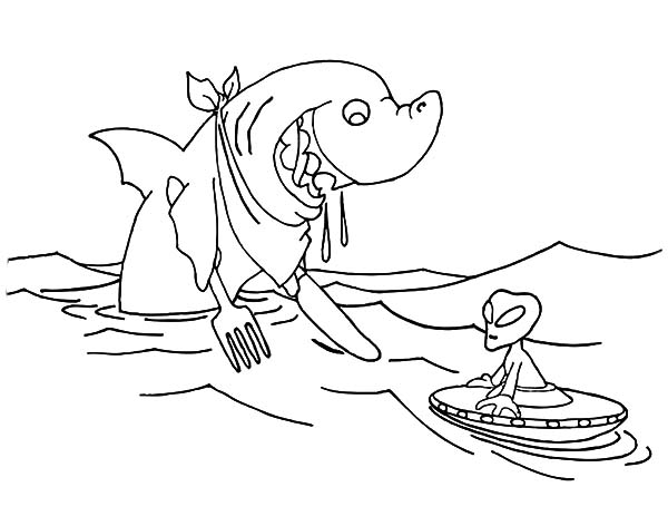Jaws, : Hungry Shark Want to Eat Alien in Jaws Coloring Pages
