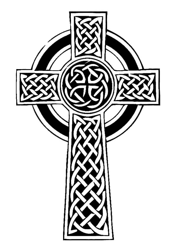 irish celtic cross coloring pages - Irish Coloring Pages