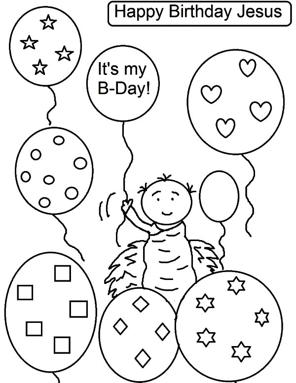 Birthday Balloons, : Jesus Birthday Party Balloons Coloring Pages