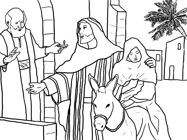 Mary And The Donkey, : Joseph Accept Rejection from People and Mary Sitting on the Donkey Coloring Pages