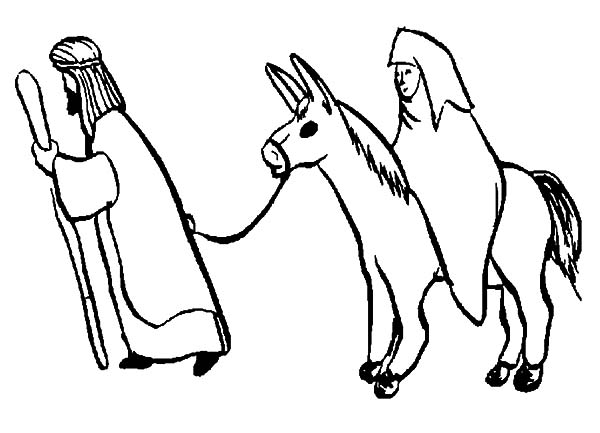 Mary And The Donkey, : Joseph Lead the Way for Mary and the Donkey Coloring Pages