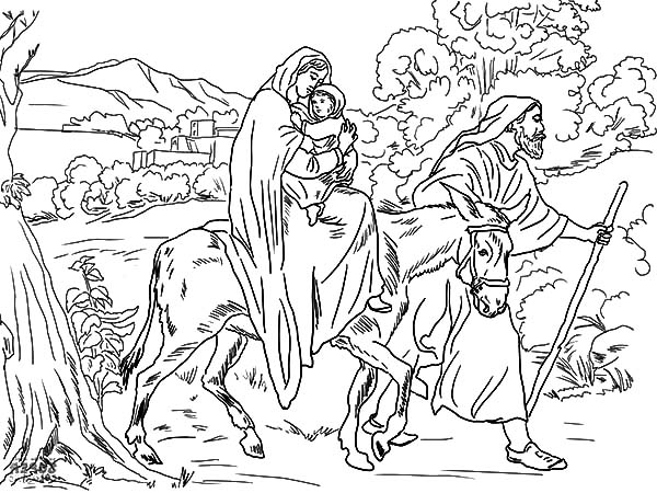 Mary And The Donkey, : Joseph Pulling Mary on the Donkey Flight into Egypt Coloring Pages