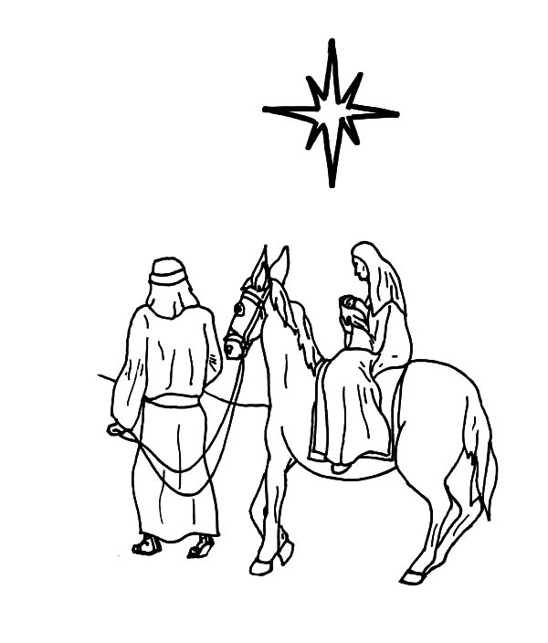 Mary And The Donkey, : Joseph Take Mary and the Donkey Looking at Star Over Bethlehem Coloring Pages