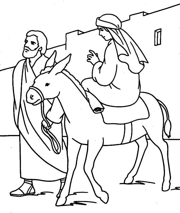 mary joseph coloring pages | Mary and the Donkey Travel to Bethlehem Coloring Pages ...
