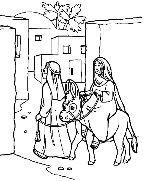 Mary And The Donkey, : Joseph and Mary and the Donkey Enter Bethlehem Coloring Pages
