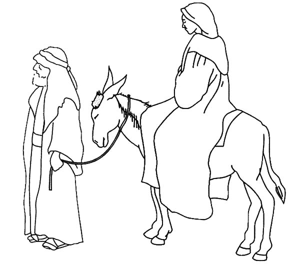 Mary And The Donkey Joseph Expecting Birth Of Jesus Coloring