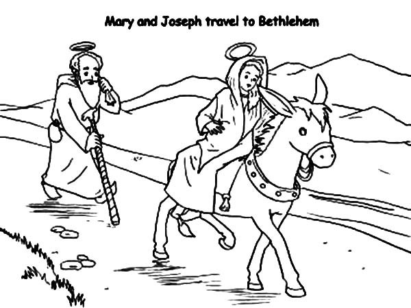 Mary And The Donkey, : Joseph and Mary and the Donkey Travel to Bethlehem Coloring Pages