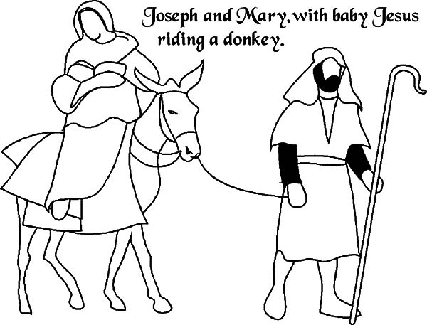 Mary And The Donkey, : Joseph and Mary and the Donkey with Baby Jesus Coloring Pages