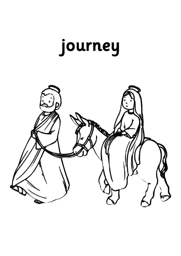 Mary And The Donkey, : Journey of Mary and the Donkey with Joseph Coloring Pages