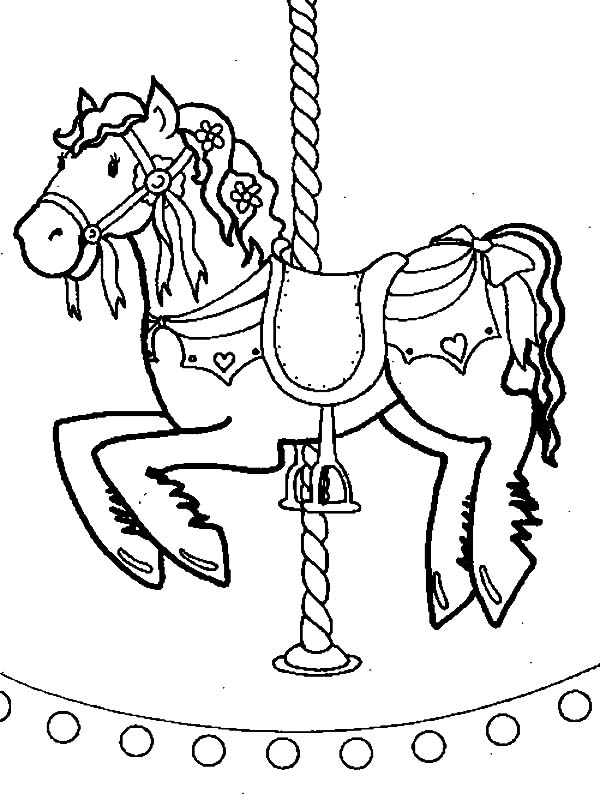 kid favorite carousel horse coloring pages - Horse Coloring Pages For Kids