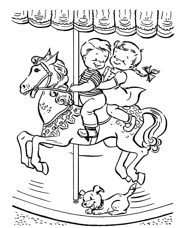 Carousel Horse, : Kids Ride Carousel Horse Coloring Pages