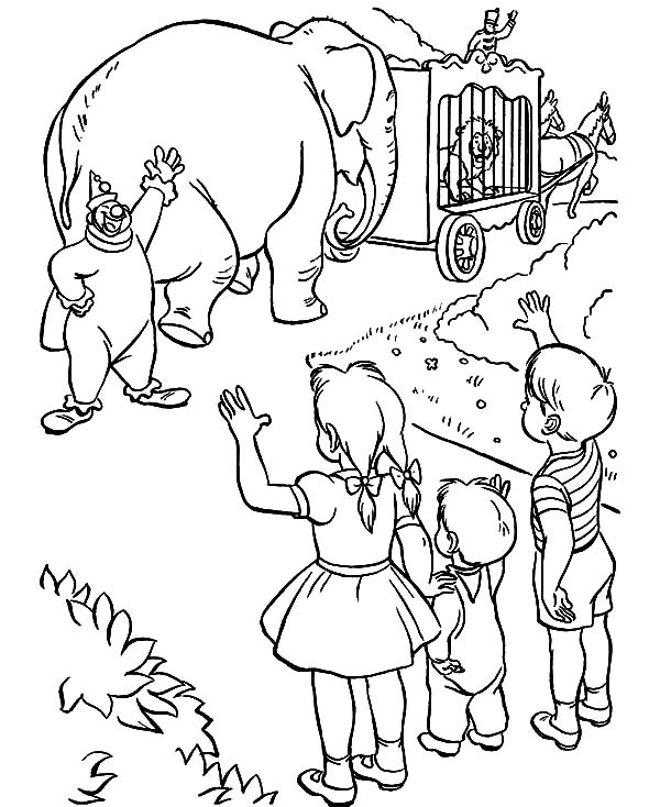 Circus Elephant, : Kids Saying Goodbye to Circus Elephant Coloring Pages