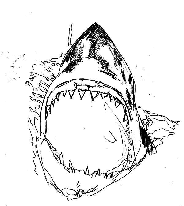 Jaws, : Killer Shark Jaws Coloring Pages