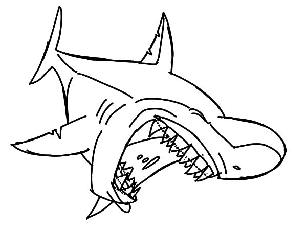 Jaws, : Laughing Shark Jaws Coloring Pages