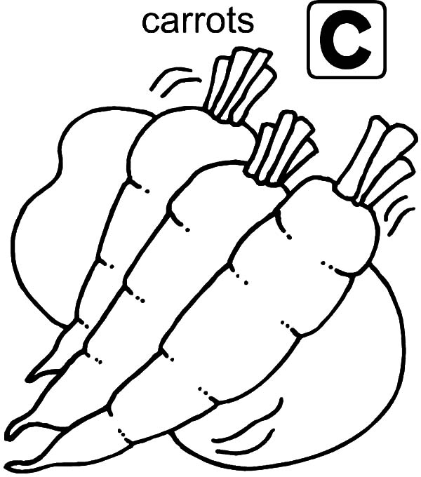 Carrot, : Letter C for Carrot Coloring Pages