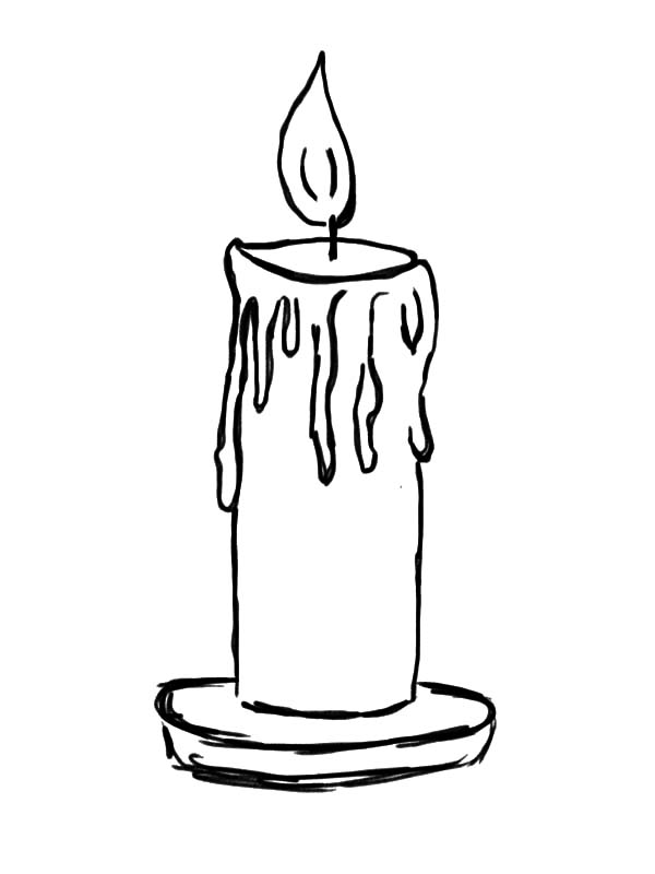 Candle, : Light Candle Coloring Pages