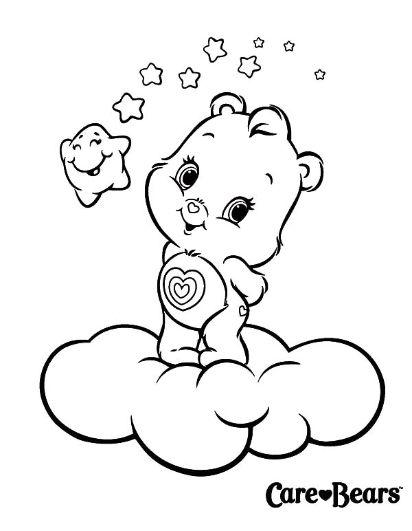 Care, : Little Adorable Care Bears Coloring Pages