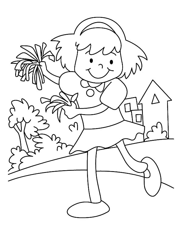 Cheerleader, : Little Cheerleader Practice at Home Coloring Pages