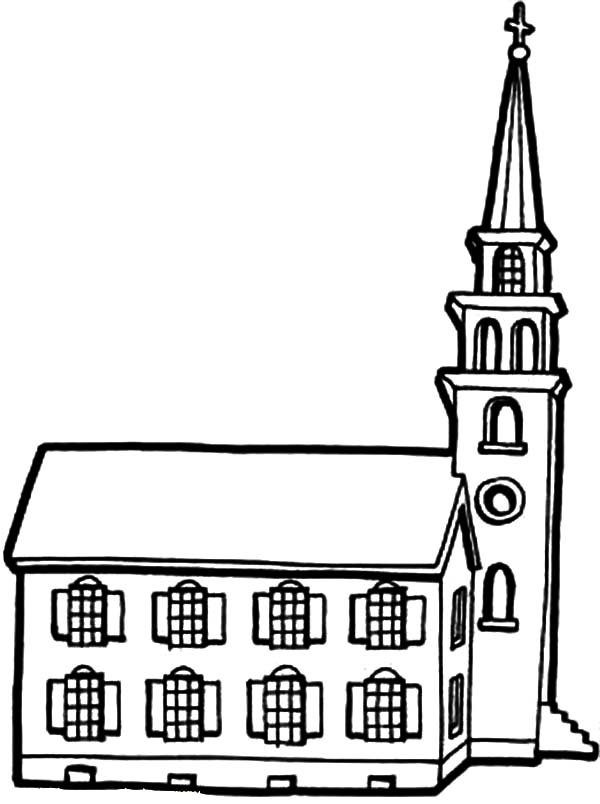 Church, : Little Church with Tower Coloring Pages