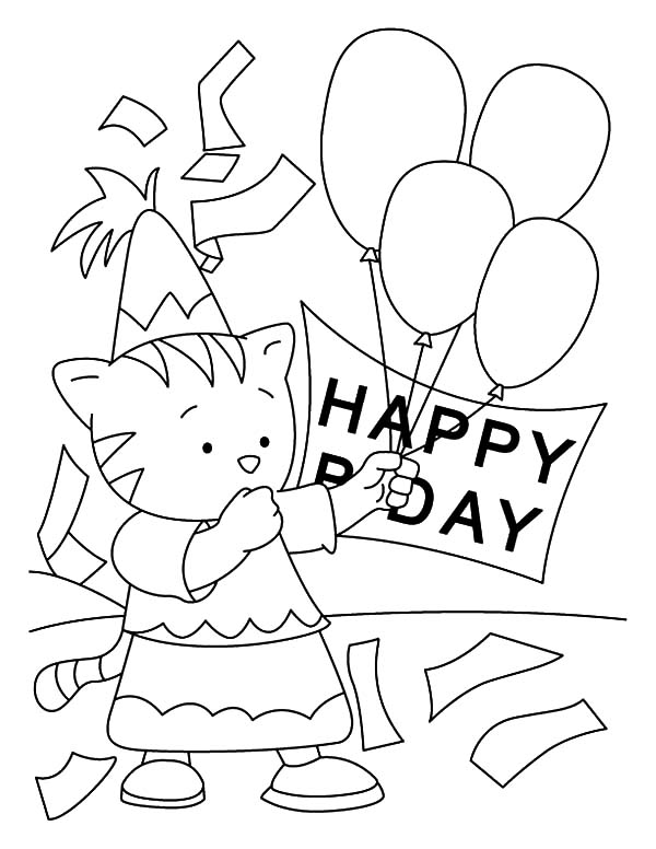 Birthday Balloons, : Little Kitty Holding Balloons Coloring Pages