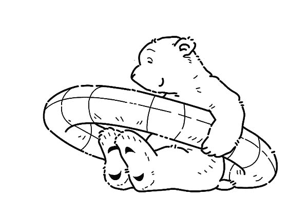 Circus Bear, : Little Polar Circus Bear Coloring Pages