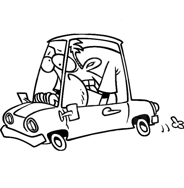 Car Driving, : Man Driving Car in Hard Way Coloring Pages