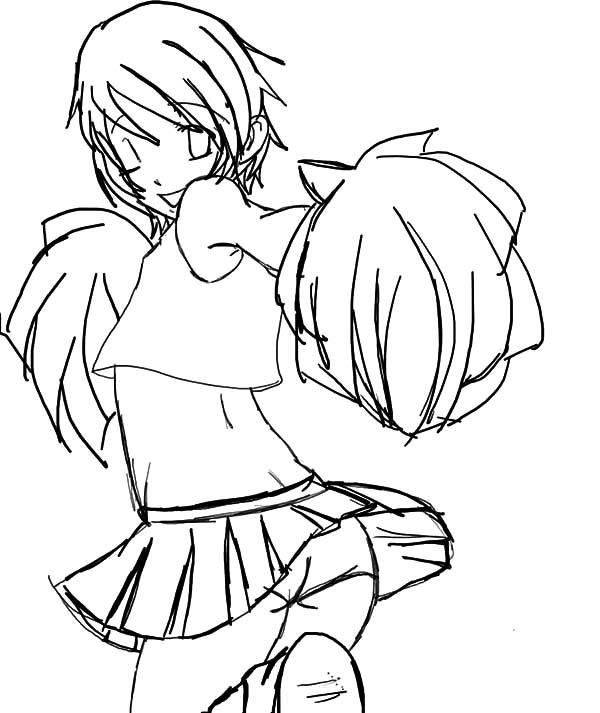 Cheerleader, : Manga Drawing Cheerleader Coloring Pages