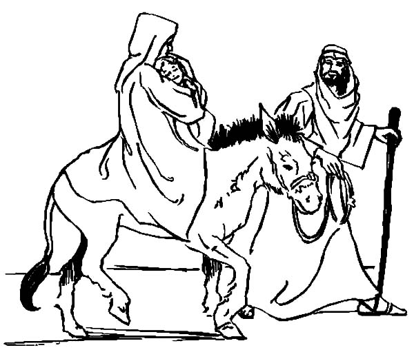 Mary And The Donkey, : Mary Carrying Baby Jesus with Joseph and the Donkey Coloring Pages