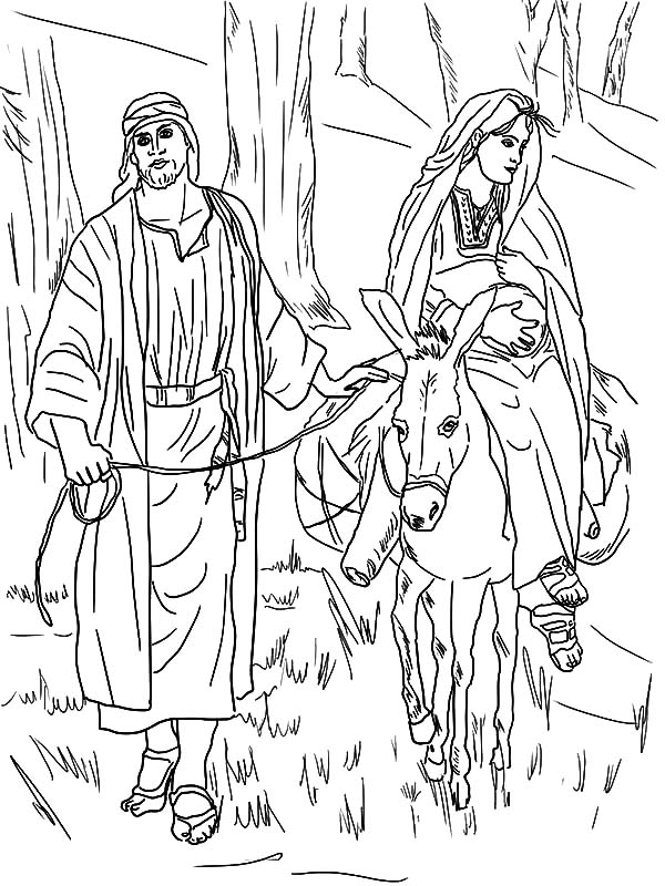 Mary And The Donkey, : Mary Sitting on Donkey and Joseph on the Road to Bethlehem Coloring Pages