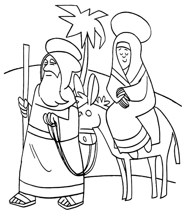 Mary And The Donkey, : Mary Travels with Joseph and the Donkey Coloring Pages