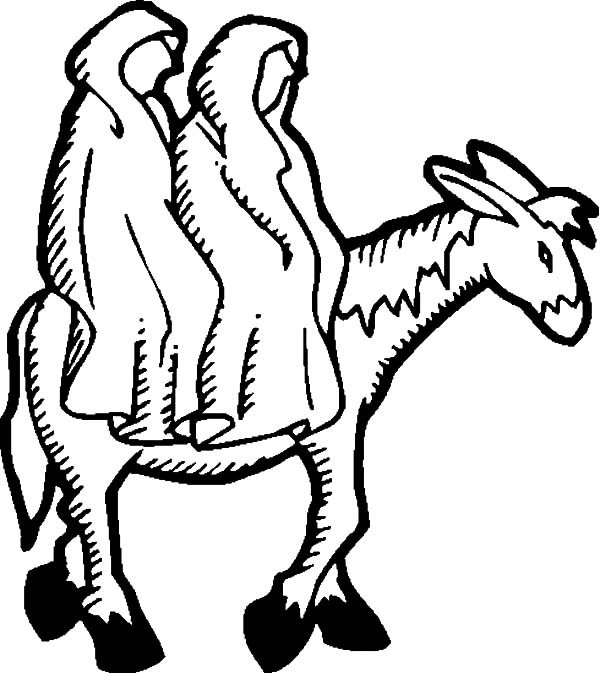 Mary And The Donkey, : Mary and Joseph and the Donkey Coloring Pages
