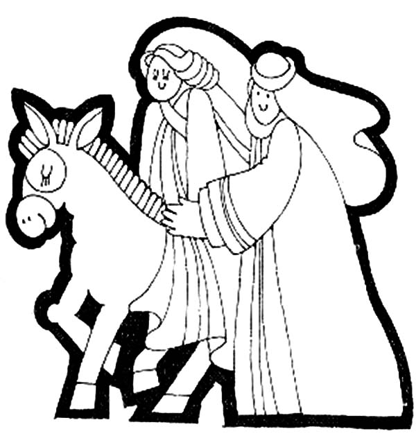 mary and the donkey coloring pages for kids - Donkey Coloring Pages