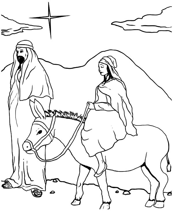 Mary And The Donkey, : Mary and the Donkey Followed by Star of Bethlehem Coloring Pages