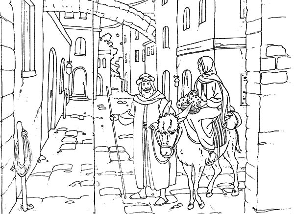 Mary And The Donkey, : Mary and the Donkey Looking for Place to Rest Coloring Pages