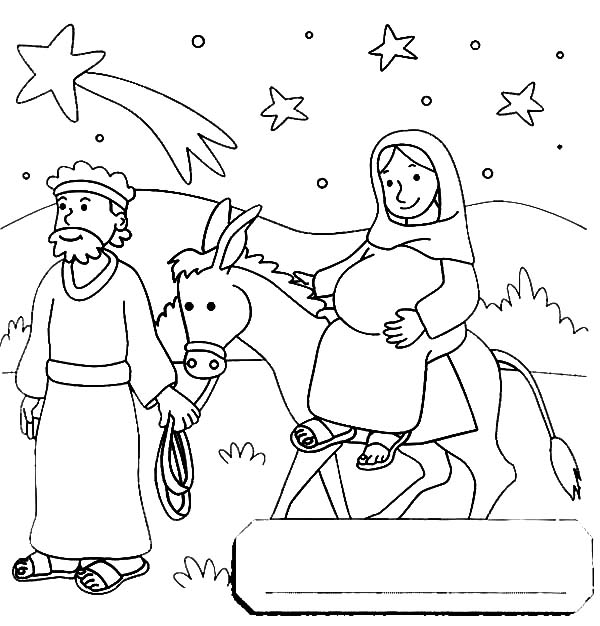 Mary And The Donkey, : Mary and the Donkey Travel to Bethlehem Coloring Pages