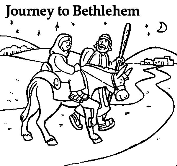 Mary And The Donkey, : Mary and the Donkey and Joseph Journey to Bethlehem Coloring Pages