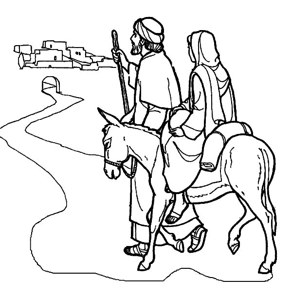 Mary and the Donkey and Joseph Near Bethlehem Coloring Pages: Mary ...