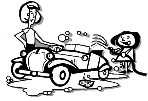 Car Wash, : Mommy and Daughter Car Wash Coloring Pages