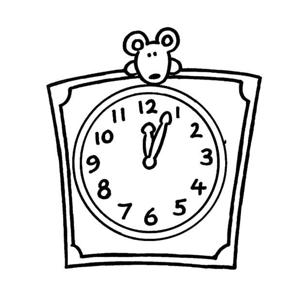 Clock, : Mouse Peek on Top of Clock Coloring Pages