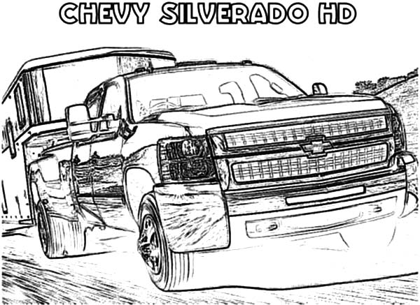 Chevy Cars, : Muscle Chevy Cars Silverado Coloring Pages