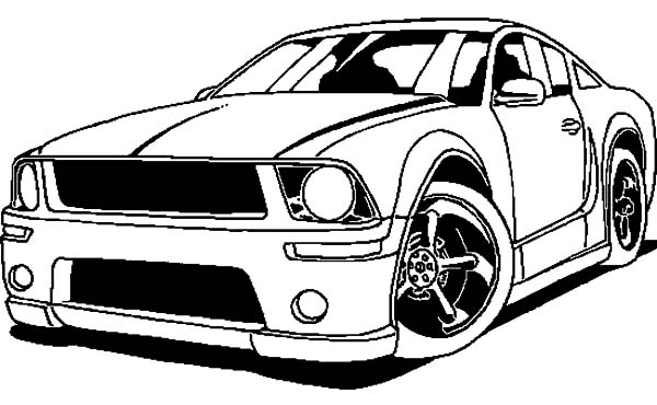 Car Mustang, : Mustang Racing Car Coloring Pages