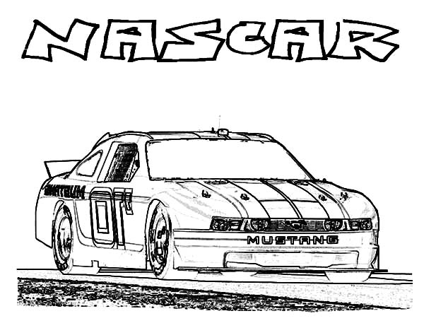 Car Mustang, : Nascar Mustang Car Coloring Pages
