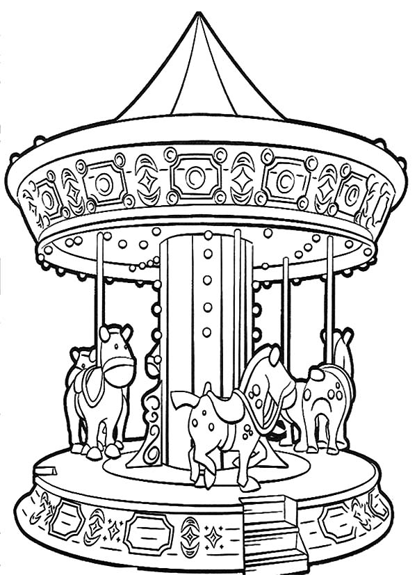 Carnival, : Night Carnival Magic Roundabout Coloring Pages