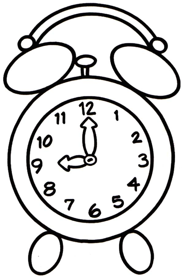 Clock, : Nine O'Clock Coloring Pages