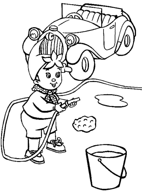 Car Wash, : Noddy is Wash His Car Coloring Pages
