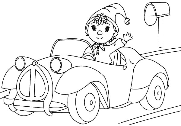 Car Driving, : Noddy the Taxi Driver Driving Car Coloring Pages