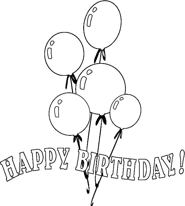 Birthday Balloons, : Partying with Balloons Coloring Pages