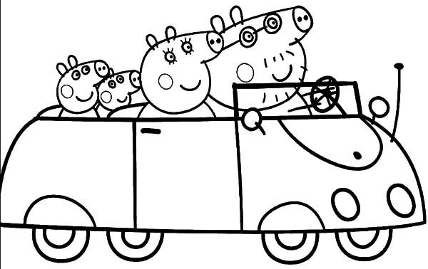 Peppa Pig And Family Driving Car Coloring Pages